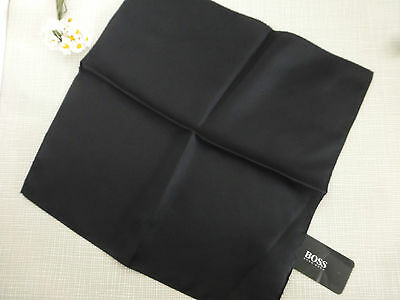 BNWT HUGO BOSS Black 100% Silk Pocket Square Handkerchief Hankie