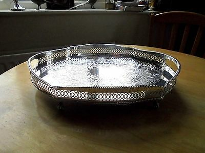 Gorgeous Silver Plated Serpentine Gallery Tray