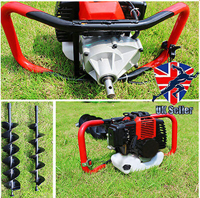 Panana 52cc Petrol Earth Auger Fence Post Hole Borer Ground Drill + 3 Bits + Ext