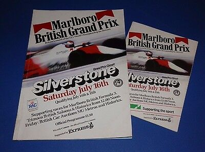 Silverstone - British Grand Prix programme and racecard 1983