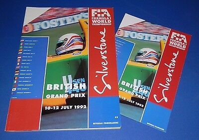 Silverstone - British Grand Prix programme and racecard 1992