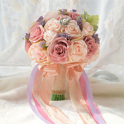 Wedding Bridal Bouquet Fake Rose Flower Pearl Flowers With Ribbon Handmade New