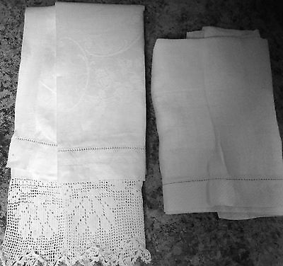 Antique Pair of Dresser Scarves -One w  Hand-Crocheted Edge