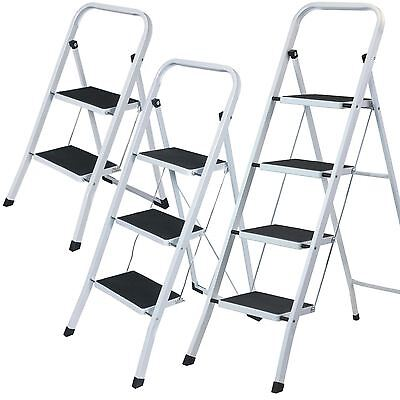 Foldable 2, 3, 4 Step Ladder Heavy Duty Strong Folding Non Slip Metal Kitchen