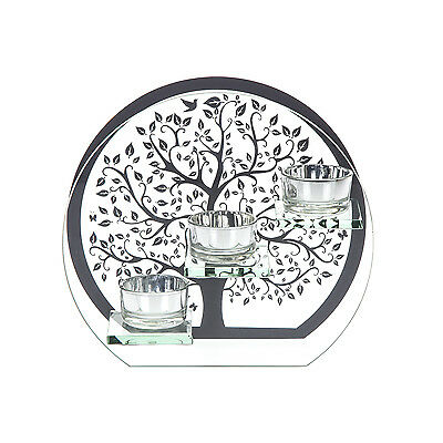Silver Glass Triple Tea Light Candle Holder Ornament New With Box Tree of :ife