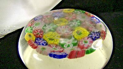 MILLEFIORI GLASS PAPERWEIGHT w. PONTIL BASE, HAND BLOWN  lot #19