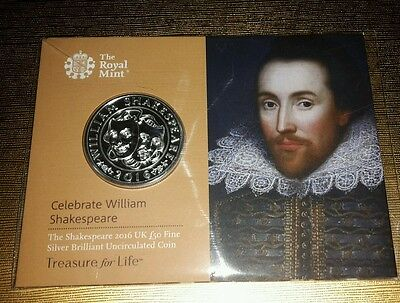 The Shakespeare 2016 £50 Fine Silver Coin - NEW MINT CONDITION - SEALED PACKAGE