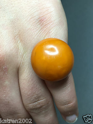 NATURAL OLD ANTIQUE YELLOW BUTTERSCOTCH BALTIC ROUND AMBER RING 10,4 gr 波羅的海琥珀
