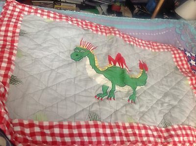 Quilted Dragon Design Rug Mat By Win Green Machine Washable Good Condition.