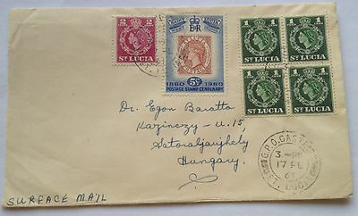 1961 St Lucia British colony nice letter to Hungary