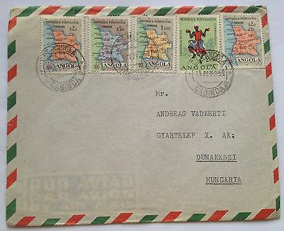 1950 Angola 5 stamps colorful Air mail letter