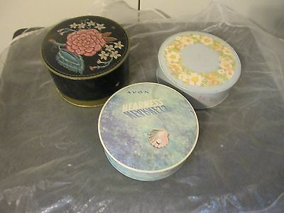 """Vtg AVON 2 New Sealed Dusting Powders w/ Puff 'NEARNESS/TO A WILD ROSE"""" + 1 OPEN"""