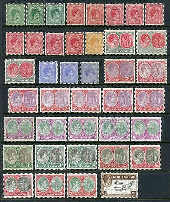 St Kitts Nevis GVI 1938 Definitive Series. Mixed values to £1 Total Cat app £475