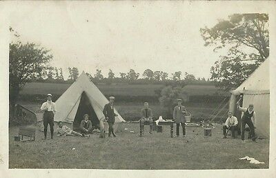 Social History, Men's Camp At Unknown Location, Photo Postcard