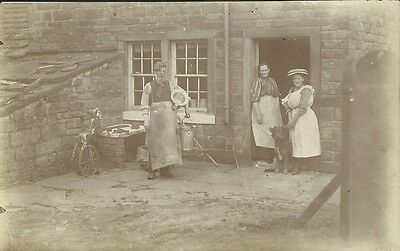 Social History, Farming Family In Their Back Yard, Candid Photo Postcard