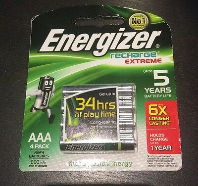 ENERGIZER AAA Rechargeable Batteries NiMH 800mAh 1 X 4pack New. Aust Stock