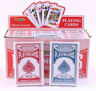 Traditional 52 plastic coated playing cards, red or blue. Packs of 1 or 2. NEW