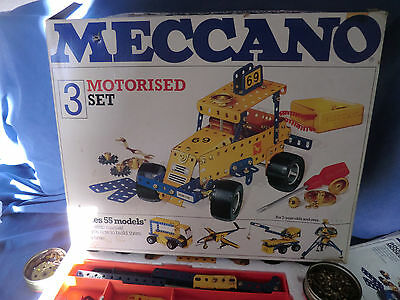 VINTAGE MECCANO MOTORISED CONSTRUCTION SET no 3 IN BOX COMPLETE WITH 2 MANUALS