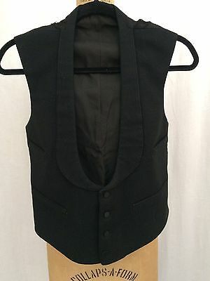 Mens Antique Victorian 1900's, Black Wool Vest, Wedding, Formal, Steampunk