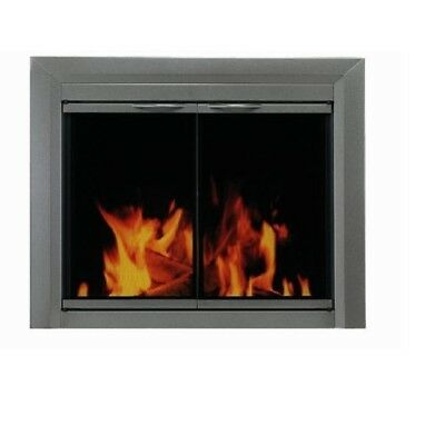 Pleasant Hearth Glass Fireplace Door Colby Nickel Large CB-3302 Screen Mesh