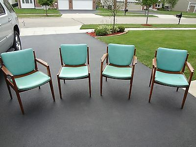 Set of 4 vintage mid century modern Thonet leather covered chairs