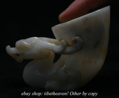 8.5CM ChineseCarved Xiuyan Jade Dynasty Beast Dragon Statue Drinking Cup Cann