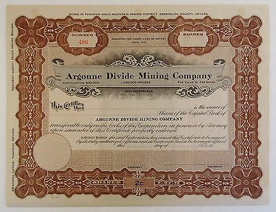 Vintage ARGONNE DIVIDE MINING COMPANY UNISSUED STOCK CERTIFICATE, Tonopah Nevada