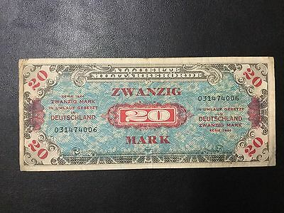 1944 Germany Paper Money - 20 Mark Military Payment Banknote !