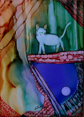 Original painting white cat abstract background ACEO miniature art