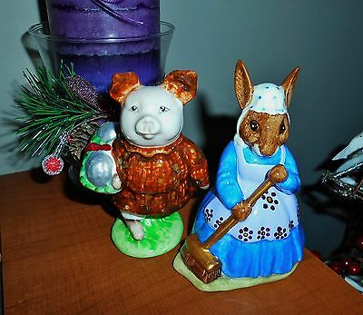 "Beswick Beatrix Potter ""PIG ROBINSON & CLEAN SWEEP BUNNYKINS"" UNIQUE SLIGHT AF"