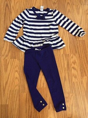 Gymboree 3T 2 Piece Blue And White Toddler Girl's Outfit