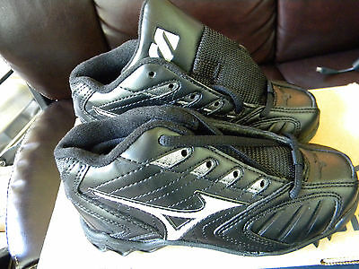 New Mizuno FB67MBK Youth 9 Spike Franchise G3 Mid Size 1 Black Baseball Cleats