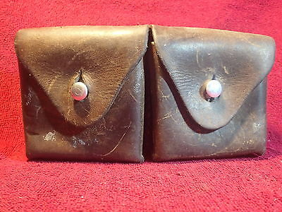 Antique Leather Ammo Pouch Swiss Switzerland Well Marked Nice Condition