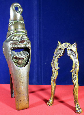 Two Antique Novelty Nut Crackers Devil and Gnome 1930s