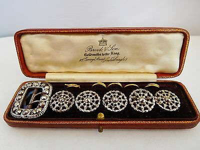 Lovely Quality  Cased Set Of Antique Cut Steel Waistcoat Buttons And Buckle