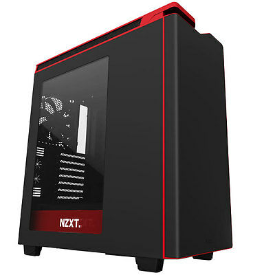 Nzxt H440 Black Red 2015 Edition Atx Gaming Usb 3 Pc Case - Side Window & Fans