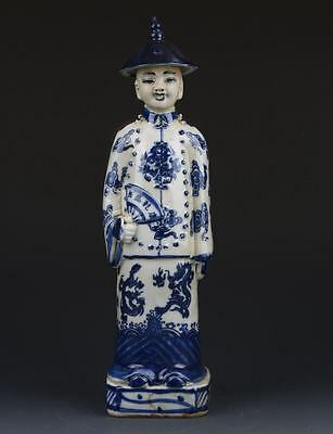 Chinese Blue and White Handwork Emperor Character Statue G263