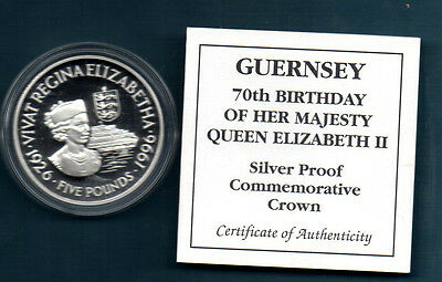 GUERNSEY - 1996 SILVER PROOF 5  POUND CROWN -  70th B'DAY  COA