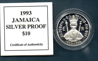 Jamaica   -   1993   Silver Proof 10 Dollar  Crown -  Coa - Coronation Anniv
