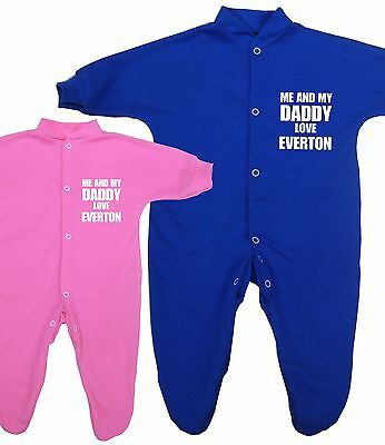 BabyPrem Me + Daddy Love EVERTON Baby Clothes Sleepsuit Babygrow Sleeper Gifts
