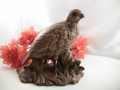 "Ceramic Quail Figurine--7-1/16"" T--Brown Color--Mold by Holland Mold, Inc"