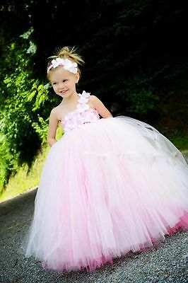 New Girls Pink tutu dress bridesmaid flower Wedding princess bridal party