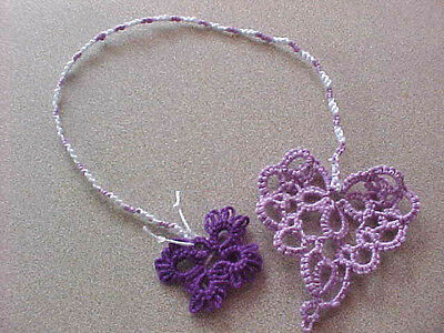 Tatted Bookmarks (7) Heart Butterfly New Purple Lilac Cord Dove Country Tatting