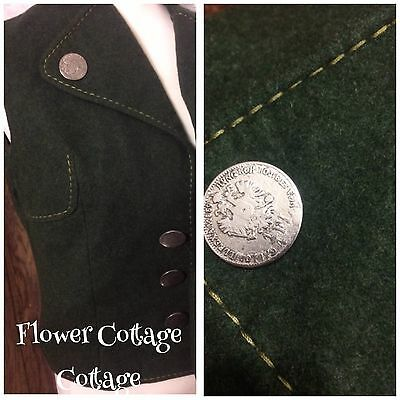"""Vintage Bavaria Tracht Dark Green Pure New Wool Waistcoat Coin Buttons 38"""" Chest"""
