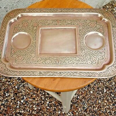 Vintage Handmade Indian Engraved Brass Tray