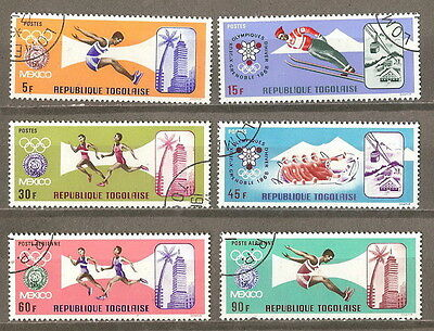 Togo 1967  '' Olympic Games,mexico '' Set Post Air Used