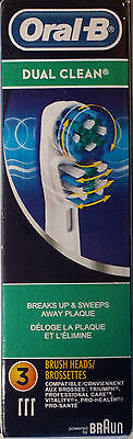 New Genuine x3 Braun Oral B DUAL CLEAN Electric Replacement Tooth Brush Heads