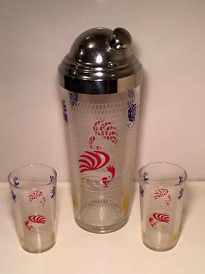 Hazel Atlas rooster cocktail shaker and tumbler set
