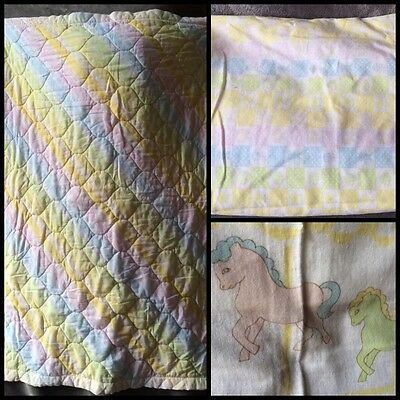 Vintage Pastel Rainbow Pony Stripe Baby Blanket Crib Set Quilt Fitted Receiving