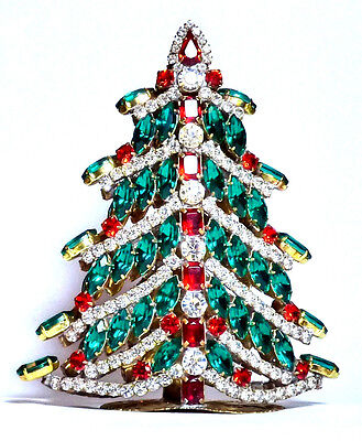 3D Gorgeus Czech Handmade Rhinestones 3D Christmas Tree Decoration